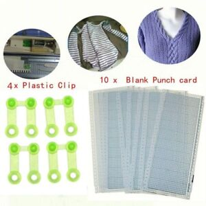 Pattern-Punch-Card-And-Clips-For-Knitting-Machines-Tools-Accessory-10-Sheets-New