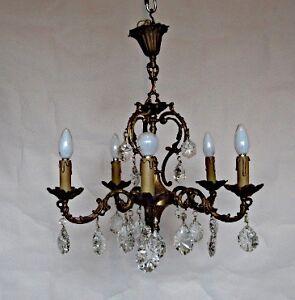 lustre 5 branches en bronze et cristal de belle qualit ebay. Black Bedroom Furniture Sets. Home Design Ideas