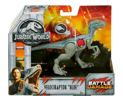Jurassic World Battle Damage Velociraptor bleu grand objet New BOXED
