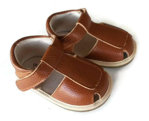 MIKEY genuine Leather sandal 6-24mths rubber sole baby toddler shoes boys brown