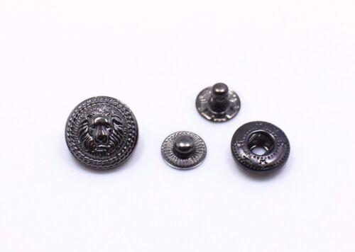 Lion Snap Bouton gun métal noir hommes bouton pression en cuir fermeture modèle 633 10 Ensembles