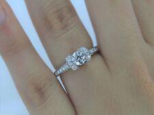 $6,500 Tiffany Platinum .77ct Round Diamond Ribbon Bead Set Engagement Ring Band