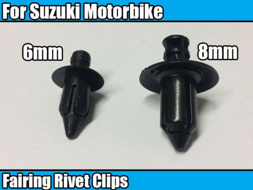 8 Mm Plastique Clips Pour Suzuki Moto Carénage Panneau Fastener Rivet 10 Chaque 20x 6 mm