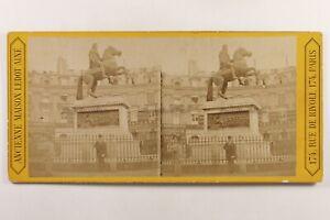Francia Parigi Place Dei Victoires c1865 Foto Stereo Vintage Albumina