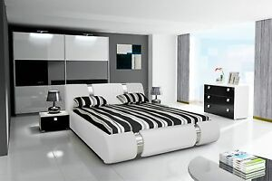 komplett schlafzimmer hochglanz weiss scharz kleiderschrank bett 2 nako ebay. Black Bedroom Furniture Sets. Home Design Ideas