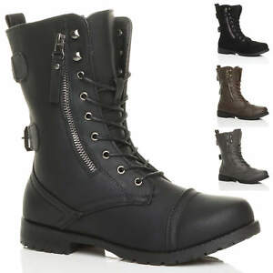 715ef55481c8c WOMENS LADIES FLAT LOW HEEL LACE UP ZIP COMBAT ARMY MILITARY ANKLE ...