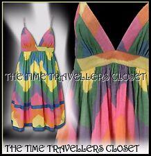 KATE MOSS TOPSHOP VINTAGE 60s 70s MULTI COLOUR TIE DIE DRESS BOHO FESTIVAL UK 12