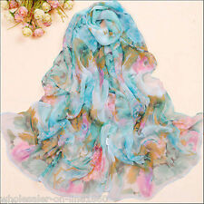 Women's Fashion Blue Georgette Long Wrap Shawl Beach Silk Scarf - Flowers