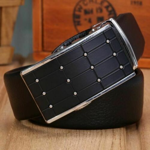 Men Belts Cowhide Automatic Buckle Solid Color With Replaceable Metal Buckle