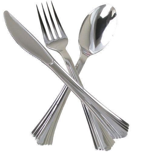 Cubiertos De Fiesta De Plástico Desechable Plateado Metal Look Cuchillos Tenedores Cucharas Metálico