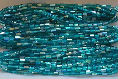 AL13 6x4mm ATLAS VINTAGE Glass CANE Beads-LIGHT CAPRI BLUE AB (50)