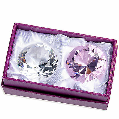 40mm Clear Pink Crystal Glass Diamond Paperweights Display Jewelery Gift 2 PCS
