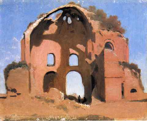 Jean Baptiste Camille Corot Temple Of Minerva Medica Rome A4 Print