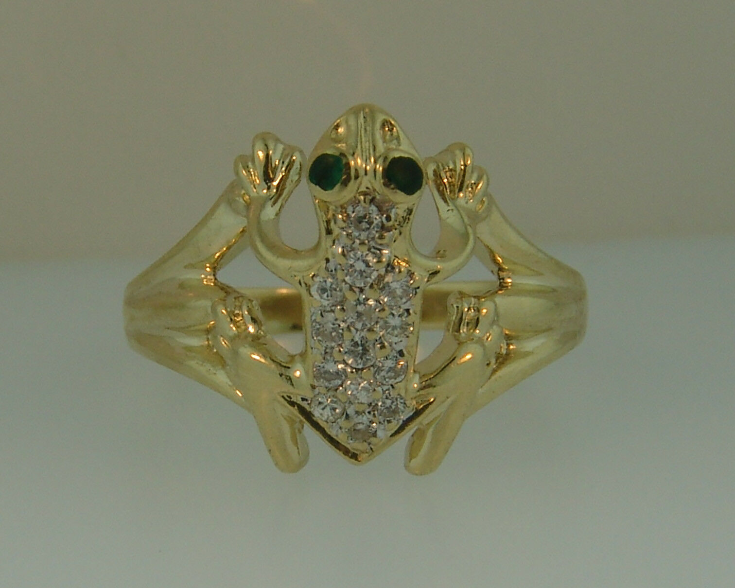 14K YG Diamond 3D Frog Enamel Ring-.28ctw