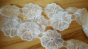 1 yard white embroidered organza voile lace venise flower