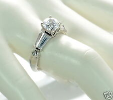 Epiphany Platinum Clad Solid 925 Sterling Silver Diamonique Solitaire Ring Sz-8'