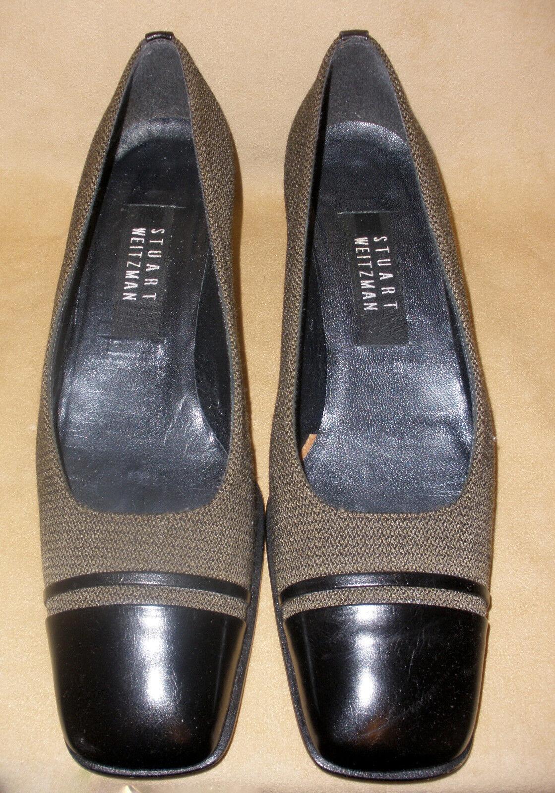 Stuart Weitzman Capable Schuhes in Herringbone Cloth in w/ Leder Accents New in Cloth Box ef58e3