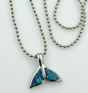 ESTATE-925-Sterling-Silver-amp-Fire-Opal-Whale-Tail-Pendant-Bead-Chain-Necklace