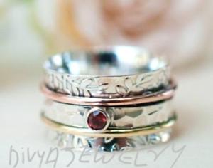 Solid-925-Sterling-Silver-Spinner-Ring-Statement-Ring-Size-Garnet-Gemstone-Sr20
