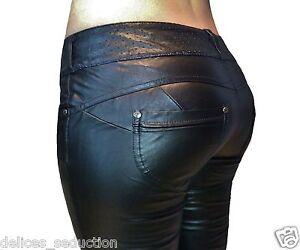 pantalon cuir simili femme jeans skinny slim push up noir stretch sexy leather ebay. Black Bedroom Furniture Sets. Home Design Ideas