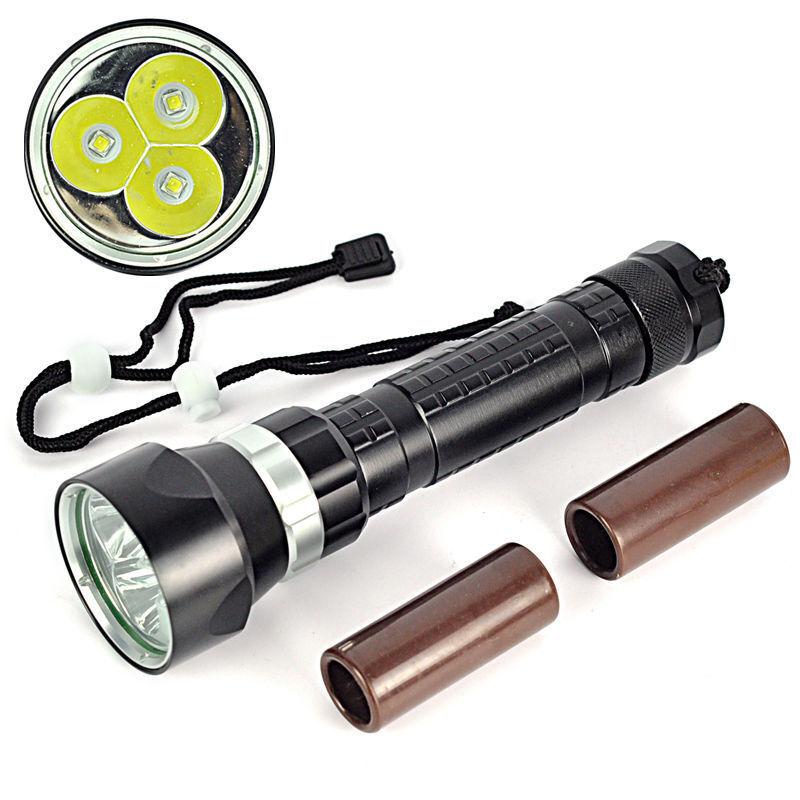 Waterproof 100M 6000Lm  3 XM-L2 LED Scuba Diving Flashlight Torch LED Flashlight  cheapest price