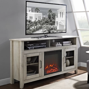Electric Fireplace Tv Stand White Oak Wood Media Console Heater