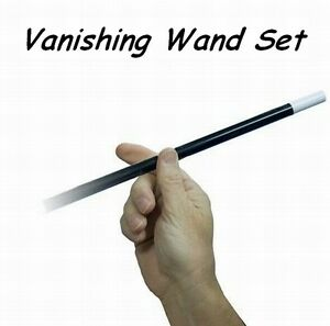 Vanishing Wand Black With White Tips Extra Real Wand /& Extra Shells Magic Trick