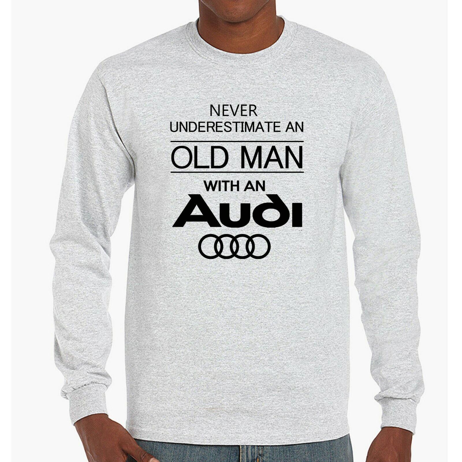 Mens Audi Hoodie Funny Old Man Quattro tt Car Owner Dad Gift Pullover Jumper NEW