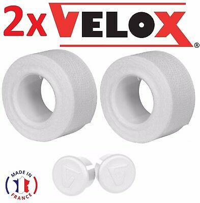 SET COTTON HANDLEBAR TAPE PLASTIC END CAP BLACK VELOX BIKE RETRO VINTAGE OLD