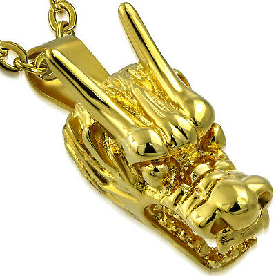 Stainless Steel GOLD COLOR PLATED DRAGON HEAD CHINESE ZODIAC SIGN BIKER PENDANT