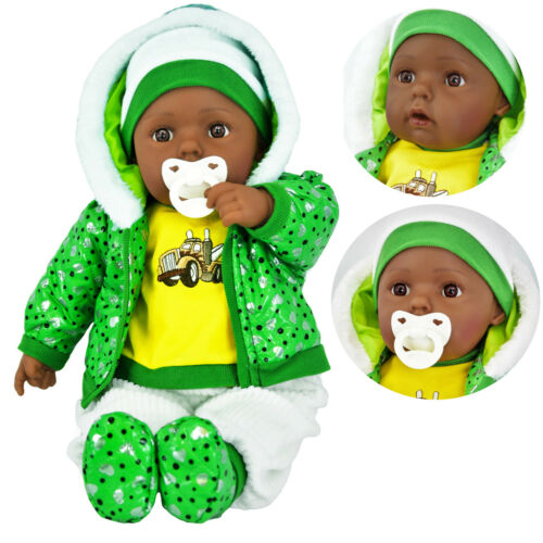 Große Ethnisch Weich Körper Schwarz Baby Puppe Für Mädchen /& Boy Mit /& Geräusche