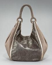 Elie Tahari Calf Hair Amelia Hobo, Bronze Leather Handbag Purse $798.00