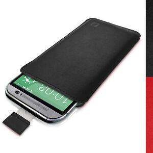 Nero-Pelle-Custodia-Cover-per-HTC-One-M8-2014-amp-One-M9-2015-Pouch-Borsa-Case