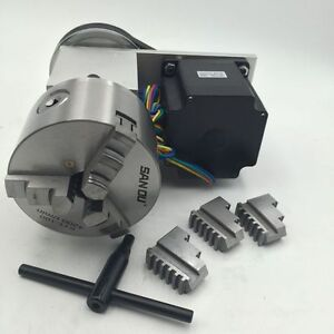 3jaw chuck rotary axis nema34 stepper motor 100mm for Cnc rotary table with stepper motor