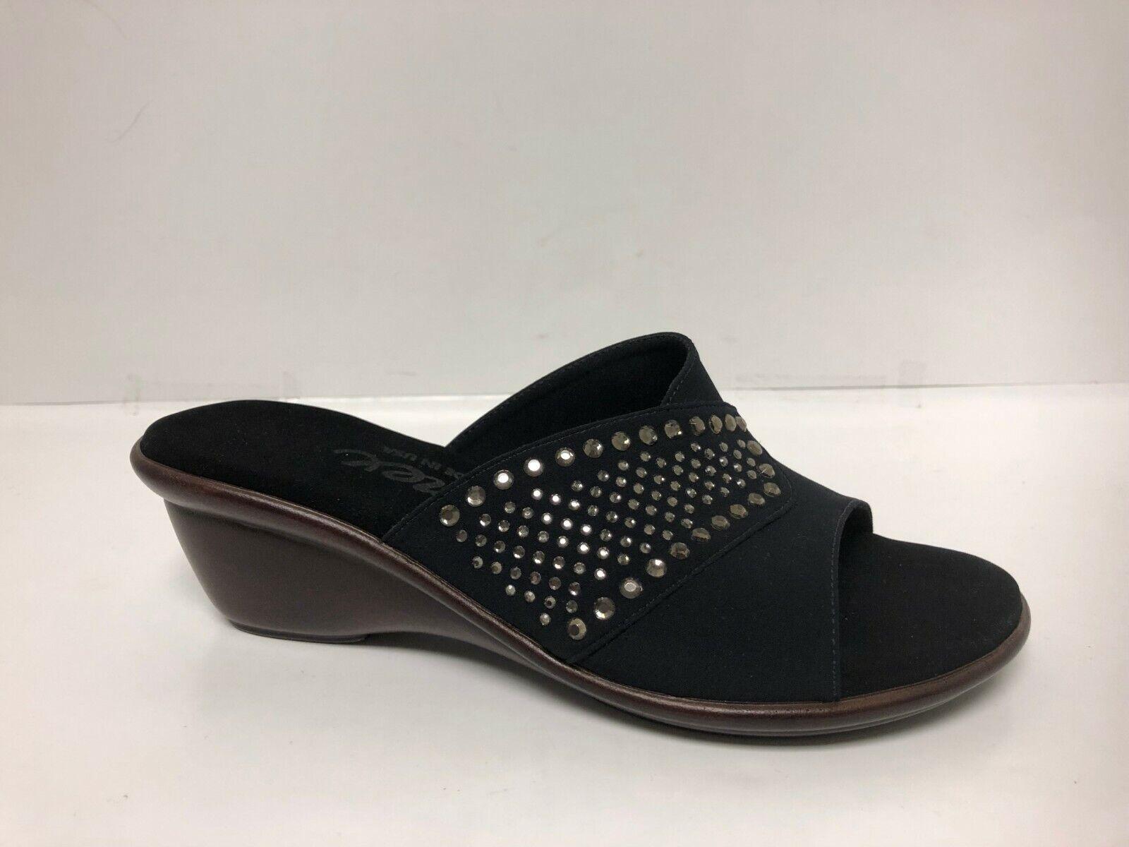 Onex Shine Mujer Cómodo Slip-On Cuña Sandalias Parte superior de tela negro