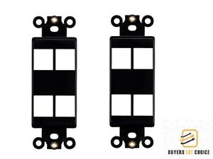2x 3 Port Hole 1-Gang Keystone Jack Insert Decora Style Wall Plate Modular Black