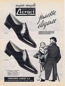 PUBLICITE PUBLICIDAD 094 1958 CLERGET zapatos para hombres