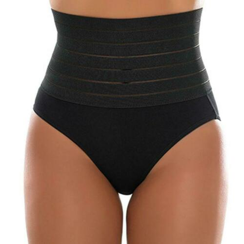 Womens High Waist Tummy Control Panties Seamless Striped Butt Lifter Body Shaper
