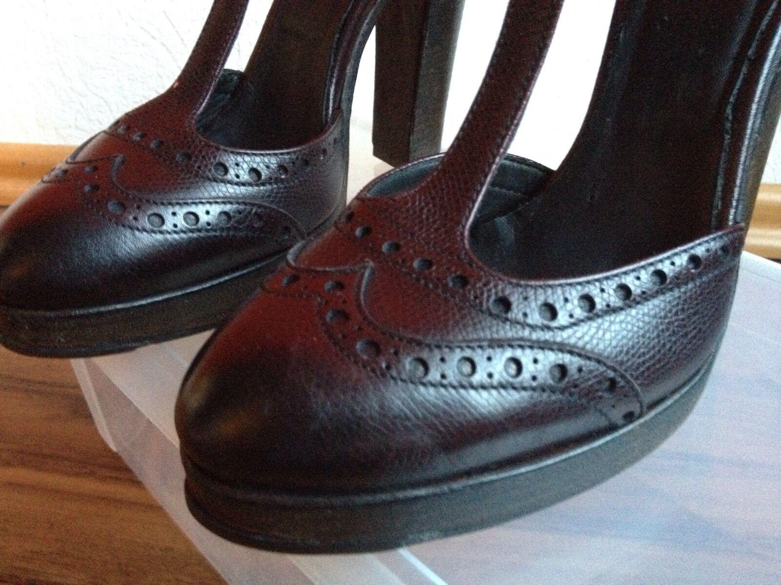 Descuento de liquidación Silvano Sassetti Schuhe Leder Pumps T-Strap Gr. 36 1/2 . NEU Dunkel Braun