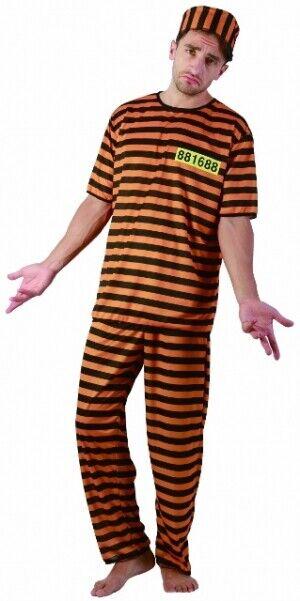 HALLOWEEN NAUGHTY PRISONER ORANGE COSTUME CONVICT BOILER SUIT PARTY FANCY DRESS