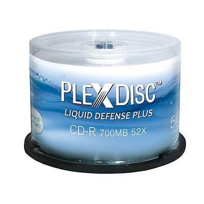 50-Pak PlexDisc 52X =Liquid Defense Plus= Glossy Water-Resist Inkjet Hub CD-R's