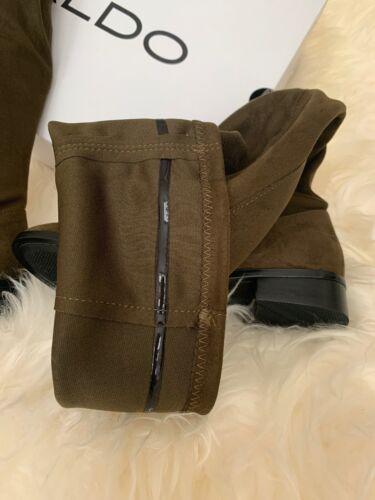 $110 ALDO ELINNA WOMEN/'S 7 SLIP ON THIGH HIGHS SUEDE DARK OLIVE GREEN BOOTS NEW