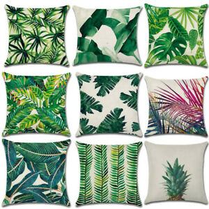 Fresh Green Leaf Design Linen Pillow