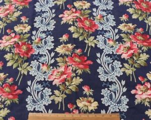 """Antique French Cotton Indigo With Red Floral & Lace Stripes Fabric~L-23"""" X W-28"""""""