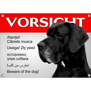 Bouclier De Chien - Avertissement Dogue Allemand En 6 Langues Résistant Aux intempéries Et Résistant