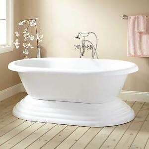 Signature Hardware Barkley Acrylic Freestanding Pedestal Tub
