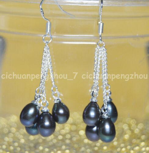 Véritable Naturel 6-7 Mm Noir Akoya Freshwater Pearl Silver Hook Drop Dangle Earrings
