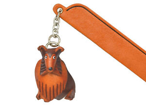 Collie Leather dog Charm Bookmarker *VANCA* Made in Japan #61721