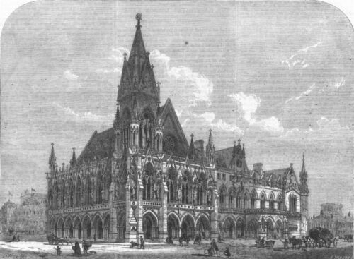 LONDON. A Provincial Townhall and MarketPlace, antique print, 1864
