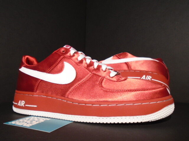 2007 NIKE AIR FORCE 1 '07 VALENTINE'S DAY VARSITY RED WHITE VELVET SATIN 12 10.5